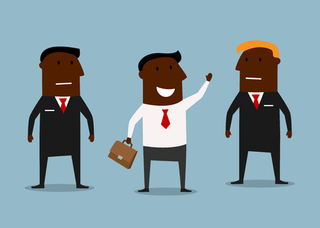 serious business: Cartoon cheerful african american businessman waving hand with strong and serious bodyguards, for business security concept Illustration