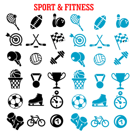 hockey skates: Sport and fitness icons set with silhouettes of sport balls and items, trophy cup, bicycle, racing flag, ice skate, boxing glove, stopwatch, dumbbell and medal Illustration