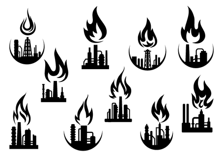 flames icon: Petroleum refinery and chemical industrial plant icons set with silhouettes of flare stacks, pipes and flames above them, for oil and gas industry theme Illustration