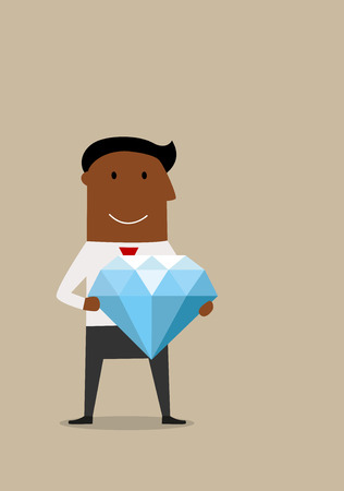 african americans: Cartoon joyful smiling african american businessman with huge diamond in hands, for wealth or success concept design