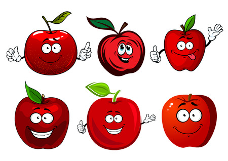 Crunchy juicy red apple fruits cartoon characters with green stems and leaves, for agriculture and food themes design