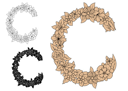 c design: Capital floral letter C composed of roses, daisies and wildflowers in black, brown and colorless variations, for font, invitation or greeting card design