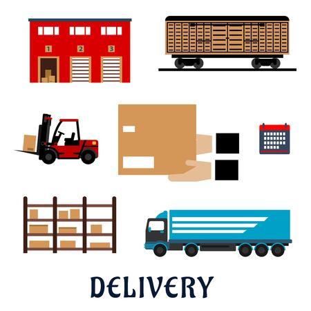 carretillas almacen: Iconos planos de servicio de entrega con la construcción de almacenes, vagones de mercancías, camiones de carga, montacargas, rack de almacenamiento, el calendario y las manos con la caja de cartón del paquete