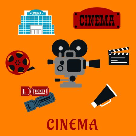 movie reel: Movie production and cinema flat icons with film reel, clapboard, retro signboard and modern cinema building, tickets, megaphone and movie camera