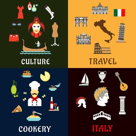 Italia concetto di viaggio con i simboli tradizionali dell'architettura italiana, storia, cultura e cucina. Icone piane