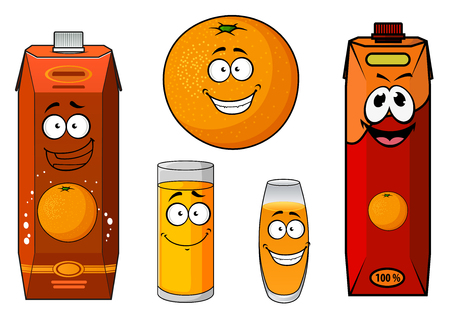 orange juice: Healthful fresh orange fruit cartoon character with happy smiling juice packs and glasses, for food and drink theme