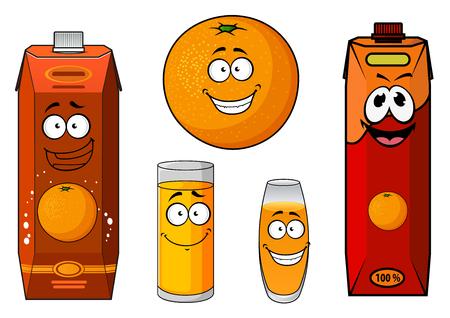 naranja fruta: Personaje de dibujos animados de color naranja fruta fresca saludable con felices sonriendo paquetes de jugo y vasos, para la comida y la bebida tema