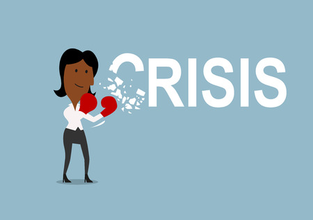 breaks: Happy african american cartoon businesswoman beats and breaks crisis with red boxing gloves, for crisis management theme concept