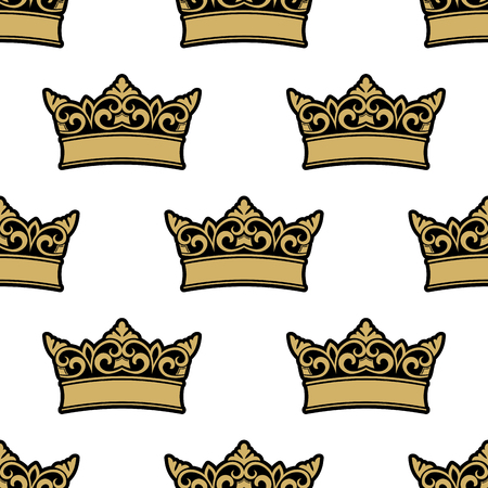 adorned: Medieval royal golden crowns seamless pattern, adorned by floral elements on white background. For heraldry theme design Illustration