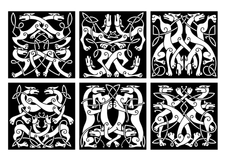 celt: Celtic animal knot patterns with playing wolves or dogs, decorated by geometric tribal ornaments, for tattoo or heraldic coat of arms design