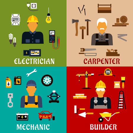carpintero: iconos planos del constructor, electricista, mecánico y de profesión carpintero que muestran hombres con herramientas manuales y eléctricas, equipos industriales y símbolos