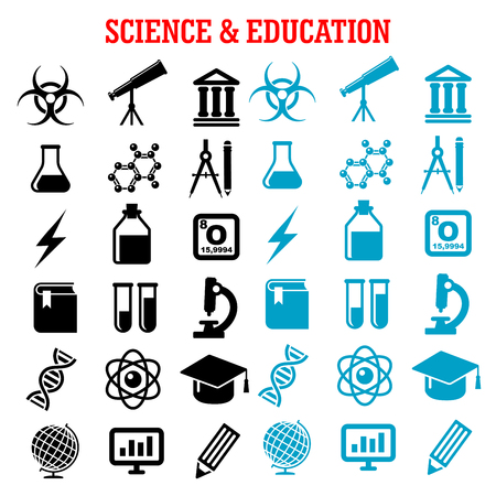 computer education: Science and education flat icons set with college, book, laboratory glasses, computer, microscope, globe, graduation cap, pencil, compasses, dna, atom, biohazard, electricity, oxygen Illustration
