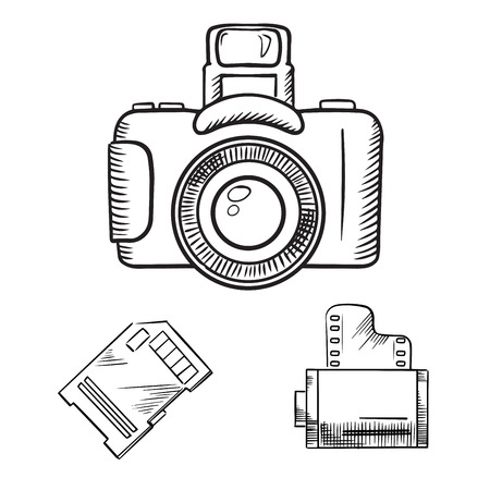 film shooting: Photo camera with memory card and film roll sketch icons, isolated on white Illustration