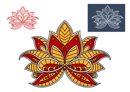 adorned: Orange and red persian paisley flower with oriental stylized petals, adorned by ornament, for interior design