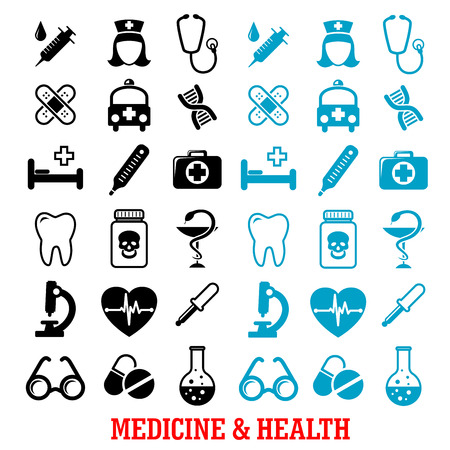 Medicine and health icons set with black and blue silhouettes of hospital and pharmacy signs, nurse, ambulance, first aid box, pills, syringe, stethoscope, heart ecg, tooth, glasses, dna, microscope Illustration