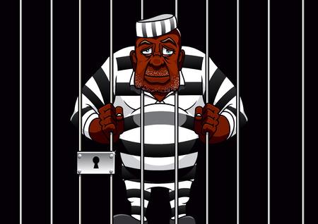 正義のテーマのデザインのための刑務所のセルのバーの後ろにストライプ制服姿でたたずむ悲しいアフリカ系アメリカ人漫画囚人  イラスト・ベクター素材