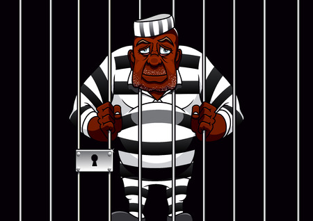 Sad african american cartoon prisoner in striped uniform stands behind bars in cell of the prison, for justice theme design