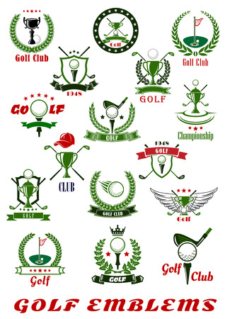 Golf sport icons and symbols set with balls, clubs, trophy cups and holes with flags, supplemented by heraldic shields, wreaths and ribbon banners with stars, wings, crown and cap