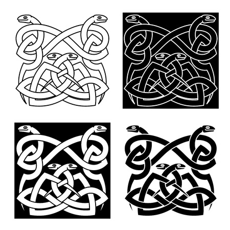 Celtic snakes traditional pattern with intricate knot ornament in tribal style, for tattoo or embellishment design Illustration