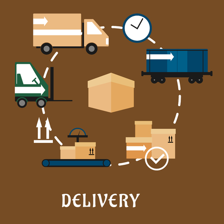 packaging: Delivery, shipping and logistics flat icons with container train, delivery packages, truck, scale conveyor, packaging signs, forklift truck, clock with cardboard box Illustration