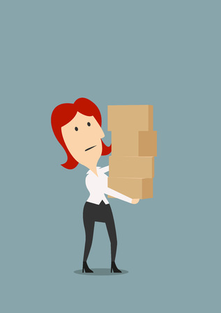 Tired redhead businesswoman carrying stack of cardboard boxes, for overload or delivery concept theme, flat style Illustration