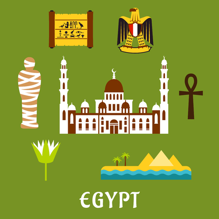 sacred lotus: Egypt travel flat icons with Cairo mosque, pharaoh mummy, desert landscape with pyramids and sea, sacred lotus flower, papyrus with hieroglyphics, eagle emblem and ankh symbol