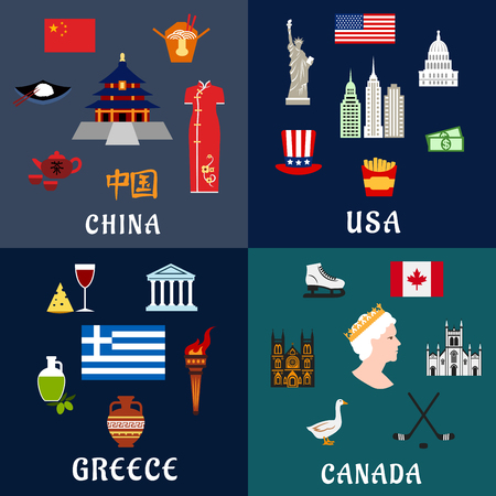 USA, China, Greece and Canada travel and landmarks flat icons with traditional culture, religion, architecture, cuisine and national symbols Ilustração