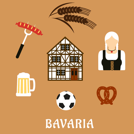 costume ball: Bavaria travel flat icons with beer mug, grilled sausage, pretzel, football ball, woman in national costume, barley and traditional german half-timbered building