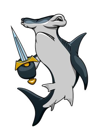 shark cartoon: Tiburón martillo personaje de dibujos animados pirata peligroso con espada aguda, para la mascota marino o tema de la aventura