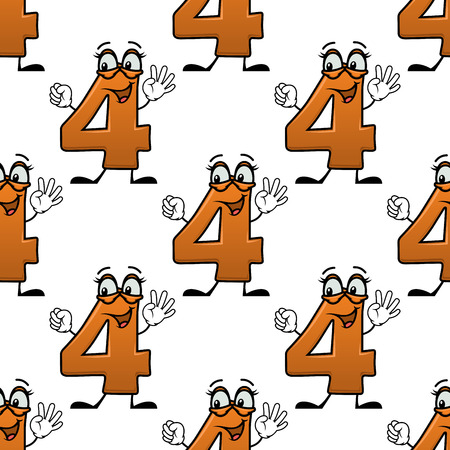 party cartoon: Seamless pattern with cartoon number four with orange digits on white background, for kids birthday party design