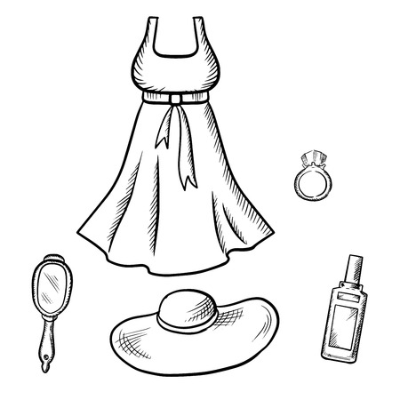 sleeveless dress: Sleeveless dress, sun hat, ring, mirror with handle and perfume. Fashion and beauty theme sketches
