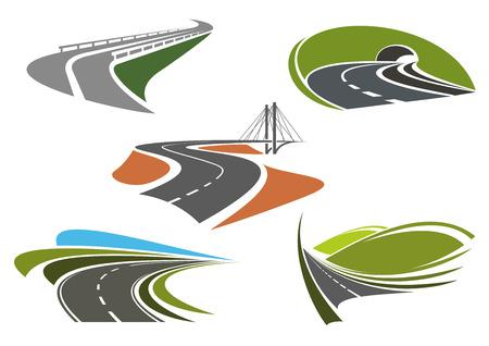 道路橋、高速道路トンネル、山高速道路および高速道路アイコン セットの旅行や輸送の主題のための急旋回