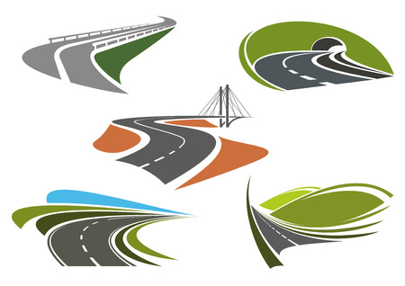 Road bridge, highway tunnel, mountain freeway and steep turns of highways icons set, for travel or transportation themes Иллюстрация