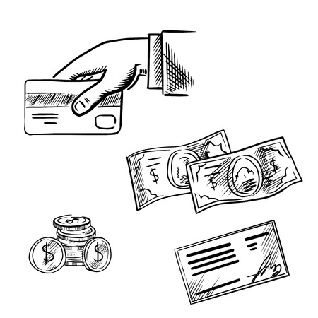 payments: Dollar bills and coins, bank credit card in hand and bank cheque. Sketch icons for payment methods and banking transaction theme