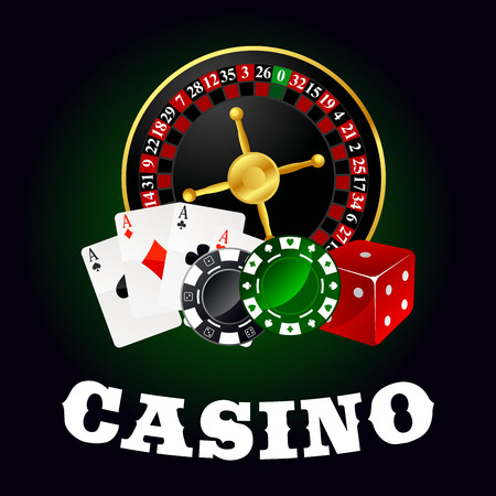 gambling chip: Casino roulette table with wheel, poker ace cards, gambling chips and red dice. For gaming industry theme