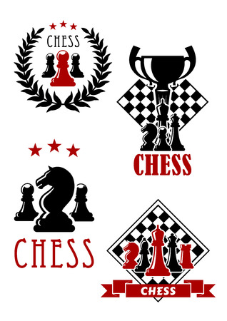 adorned: Chess tournament icons and emblems with king, queen, rook, bishop and pawn pieces with chessboard and trophy cup, adorned by stars, wreath and ribbon banner Illustration