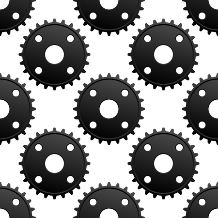 frequent: Mechanical gears seamless pattern of industrial black pinions with frequent cogs on white background, for technical engineering theme Illustration