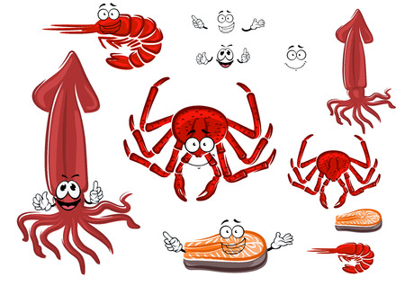 fresh seafood: Fresh cartoon red crab, shrimp, salmon steak and squid characters with funny smiling faces, for seafood menu or healthy food themes