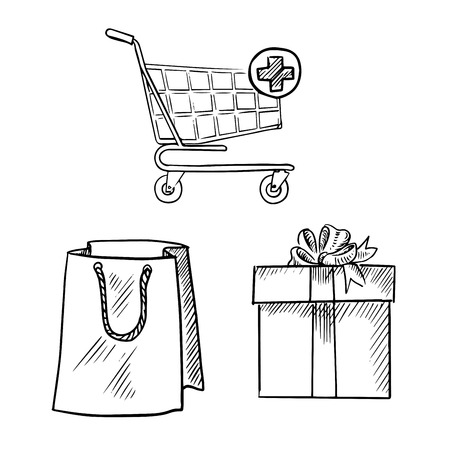 add button: Shopping cart with add button, paper shopping bag and gift box with ribbon bow. Sketch symbols for shopping and commerce design