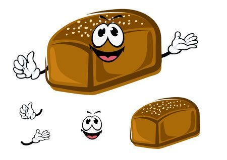sesame seeds: Happy loaf of dark rye bread cartoon character with sesame seeds, for healthy food or bakery theme