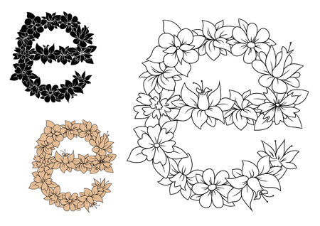 letter e: Floral small letter E with lush blooming flowers and curved leaves in outline style, including brown and black color letters