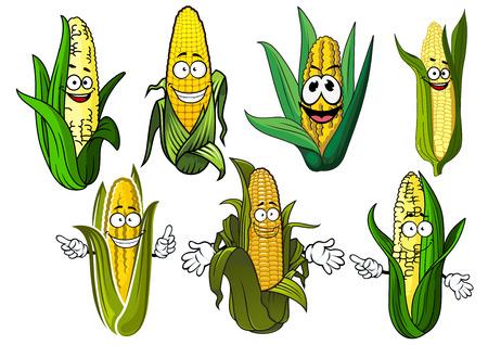 elote caricatura: Dibujos animados dulce personajes felices mazorcas de maíz con granos de oro y hojas verdes, para la agricultura o el tema de la comida vegetariana Vectores