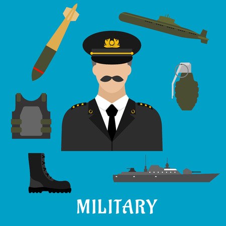 boots: Military profession flat icons with moustached man in uniform, encircled by body armor, army boots, hand grenade, submarine, combat ship and torpedo