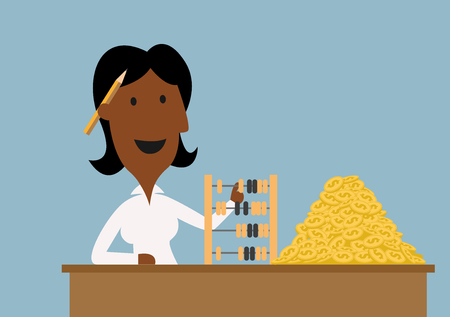financial managers: Cartoon happy african american businesswoman using retro wooden abacus to count golden dollar coins on table, for wealth or financial success theme design
