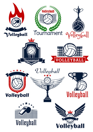 Volleyball tournament or sport team emblems with balls, trophies and whistles with wings, stars, flame and crowns, supplemented by heraldic shields, wreath and ribbon banners Illustration