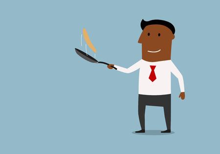 Vrolijke Afro-Amerikaanse zakenman toss up pannenkoek in de koekenpan, cartoon stijl. Succes in business concept