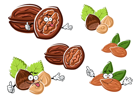 oil crops: Funny walnut, almond and hazelnut cartoon characters with raw nuts and dry kernels. For healthy food or snack design Illustration