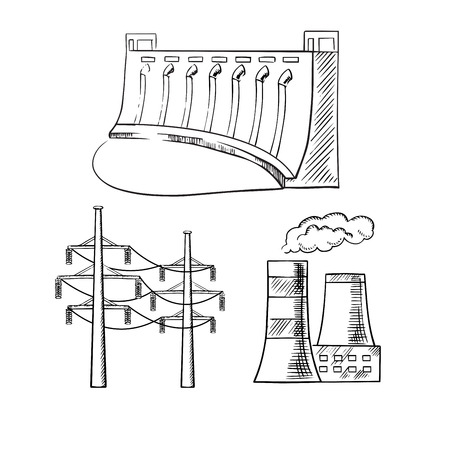 power industry: Hydro power plant with dam, thermal power plant with cooling towers and high voltage power line towers. Sketch icons for  industry theme design