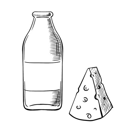 chunk: Fresh healthy farm milk in bottle and piece of cheese with holes sketches, for dairy product or natural food design Illustration
