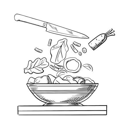 Sana ricetta di insalata cucina vegetariana con carote fresche a fette, peperone, cipolla, cetrioli, le verdure pomodoro e foglie di lattuga che cadono in un'ampia ciotola di insalata. Sketch style